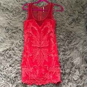 Free People Red Embroidered Dress